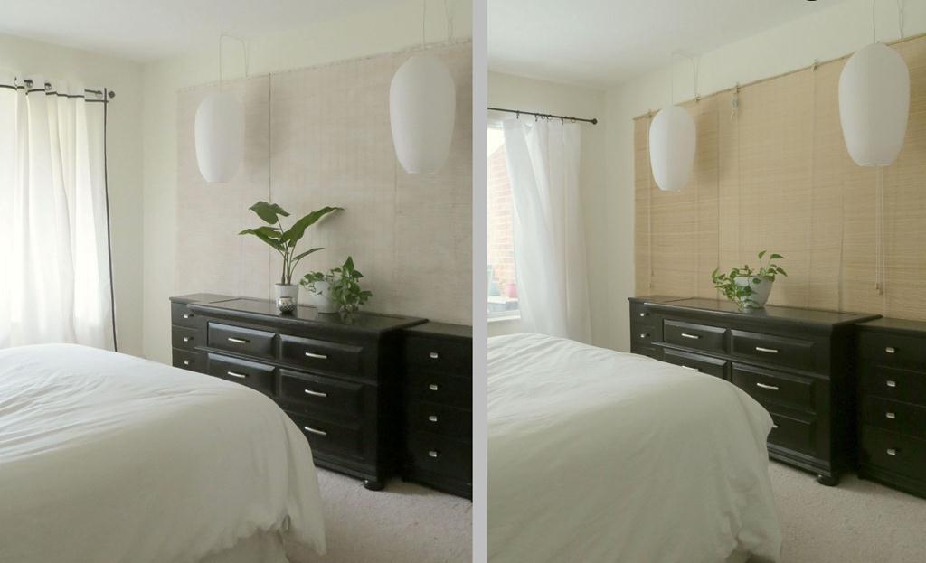 Декоративное оформление стен краской и бамбуком