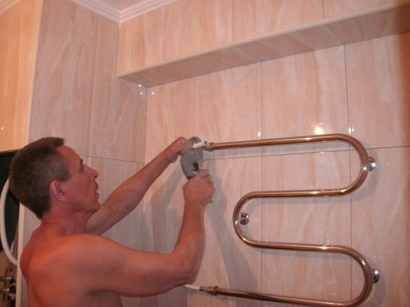 Как в ванной поменять полотенцесушитель в ванной своими руками